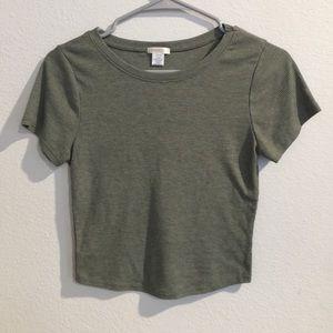 Green crew neck knit crop top